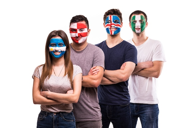 Group of supporter of argentina, croatia, iceland, nigeria national teams fans with painted face