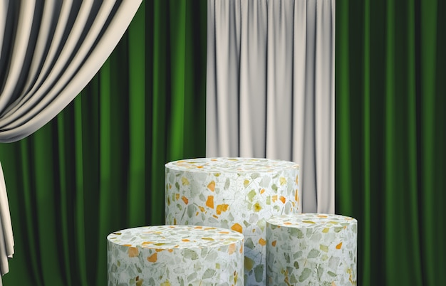 Group of terrazzo cylinder podium box with green curtain for product display. 3d render. luxury scene.