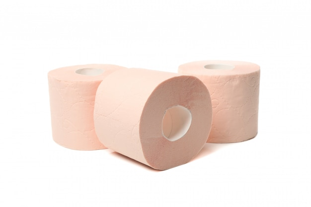 Group of toilet paper isolated