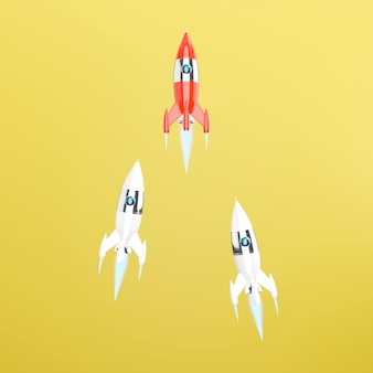 Group of toy spaceships, rockets. 3d rendering