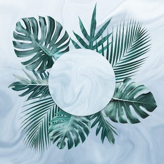 Group of tropical leaves on marble in frame shape
