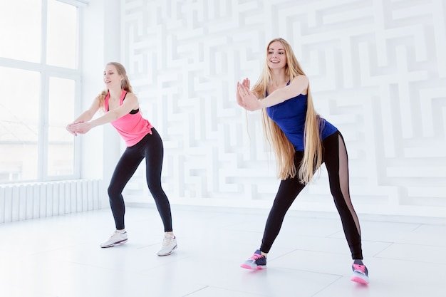 Group of two fit young women having a fitness dance class