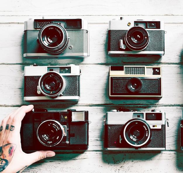 Gruppo di macchine fotografiche cinematografiche d'epoca