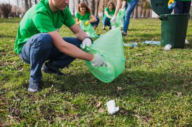 Group of volunteers collecting garbage
