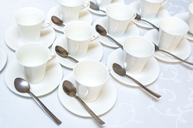 Group of white empty coffee cups