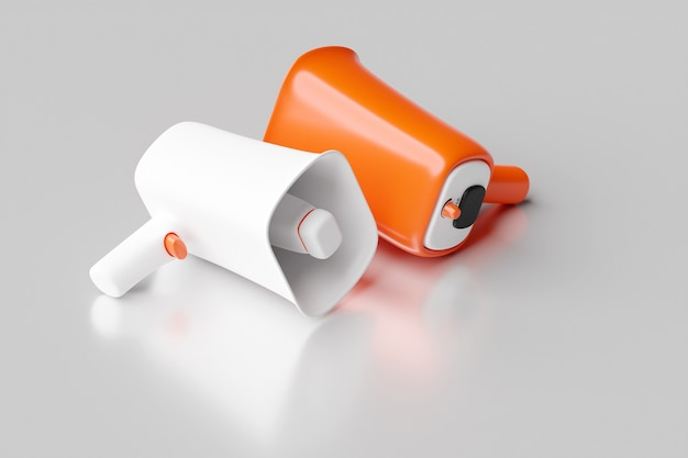 Group white and  orange   glass loudspeakers on a gray  monochrome background. 3d illustration of a megaphone.