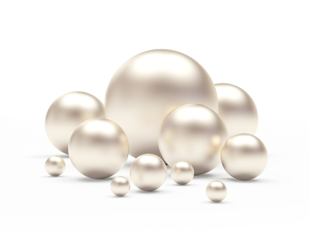 Group of white pearls of different sizes