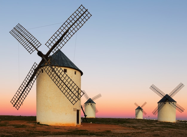 Group of  windmills at field in sunrise