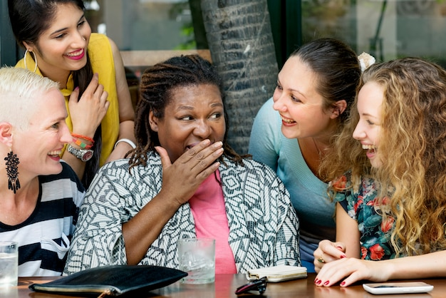 Group of woman talking communication concept