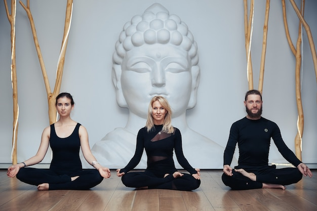 Group of womans and man doing yoga in studio