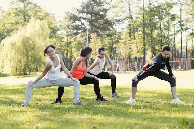 Group of women doing sports outdoor