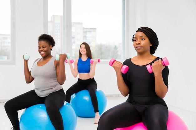 Group of women fitness training