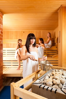 Group of women in the sauna