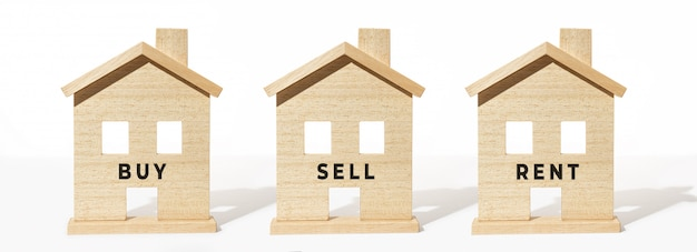Group of wooden house model on white background. buy, sell or rent concept