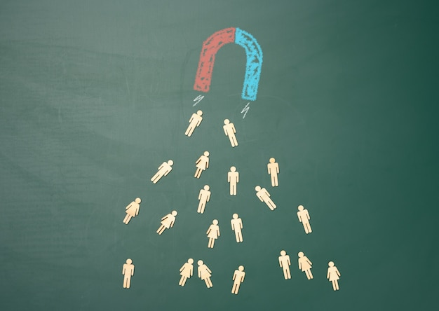 A group of wooden little men are attracted by a magnet on a green background. personnel search concept, team recruitment