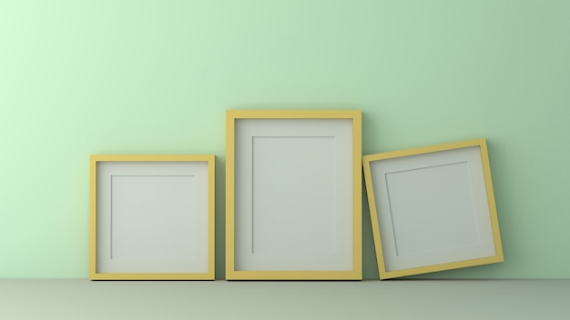 Group of yellow picture frame on the green wall. 3d render.