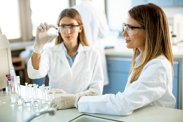 Group of young female researchers analyzing chemical data in the laboratory