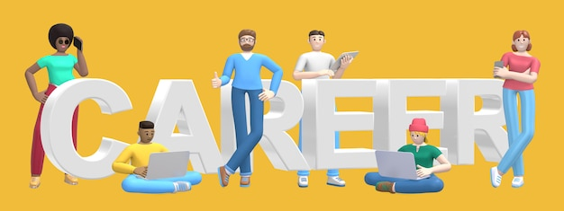 Group of young multiethnic successful people with laptop, tablet, phone and word career on yellow wall. cartoon character and text website slogan. 3d rendering.