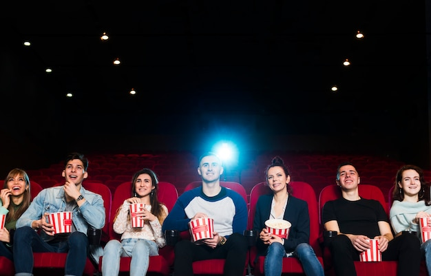 Group of young people in cinema