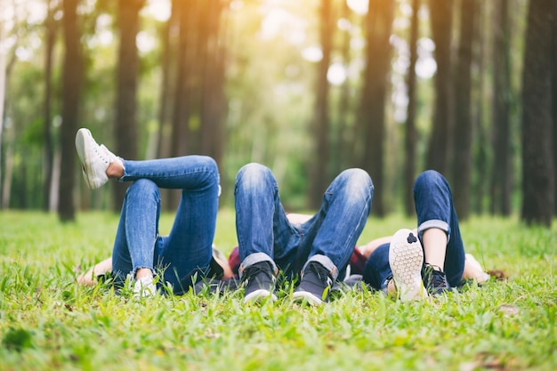 A group of young people lying down on a green grass in the forest