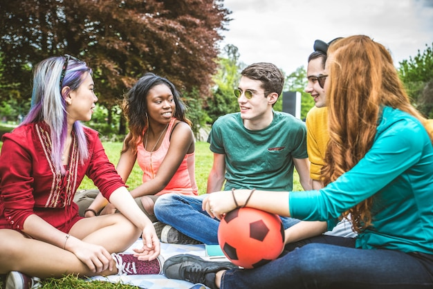 Group of young people in a park