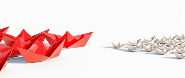 Группы бумажных корабликов оригами смотрят друг на друга. концептуальные 3d визуализации изображения.