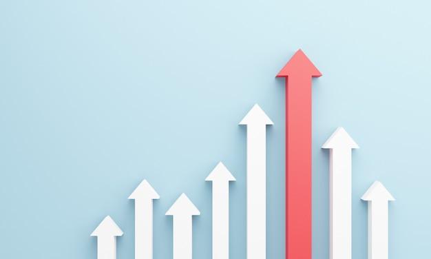 上昇矢印の付いた成長バーグラフィック