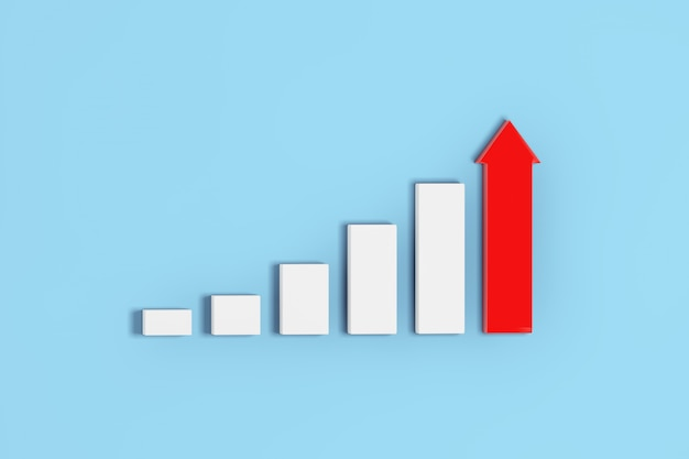 Growing bars and red arrow chart graph diagram on a blue background. 3d rendering