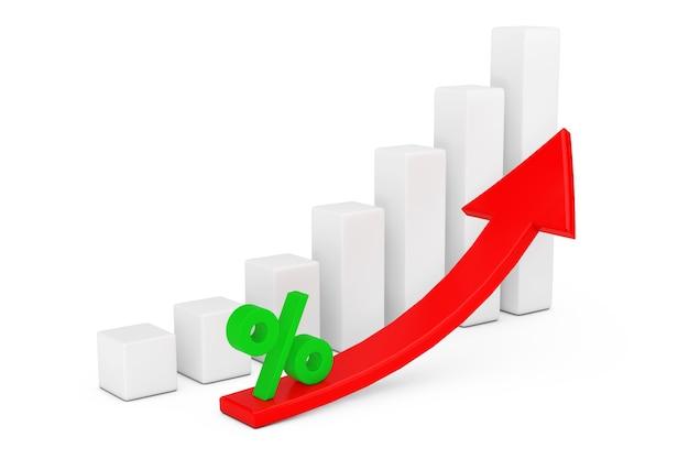 上昇する赤い矢印と白い背景のパーセント記号で成長しているビジネス棒グラフ。 3dレンダリング
