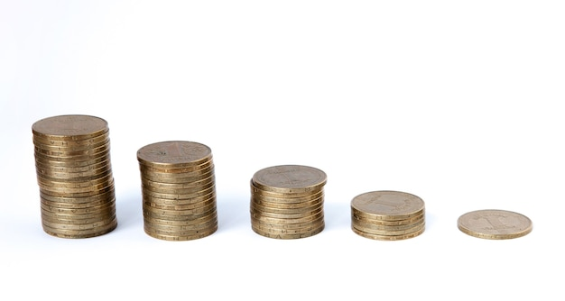 Growing coins stacks on white background. financial growth, saving money, business finance wealth and success concept.