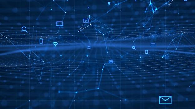 成長するグローバルネットワークとデータ接続の概念。科学技術データネットワーク