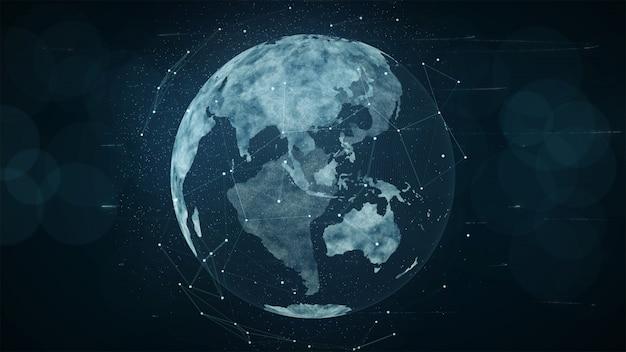 成長するグローバルネットワークとデータ接続のコンセプト。科学技術データネットワーク。