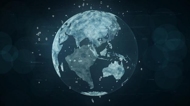 成長するグローバルネットワークとデータ接続の概念科学技術データネットワーク