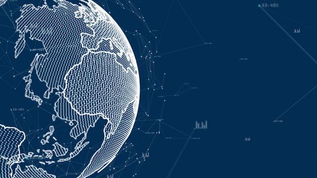 成長するグローバルネットワークとデータ接続のコンセプト。