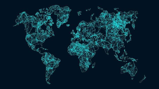Растущая концепция глобальной сети и передачи данных.