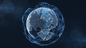 Growing global network and data connections concept