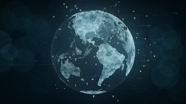 成長するグローバルネットワークとデータ接続のコンセプト