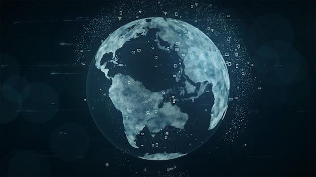 成長するグローバルネットワークとデータ接続の概念