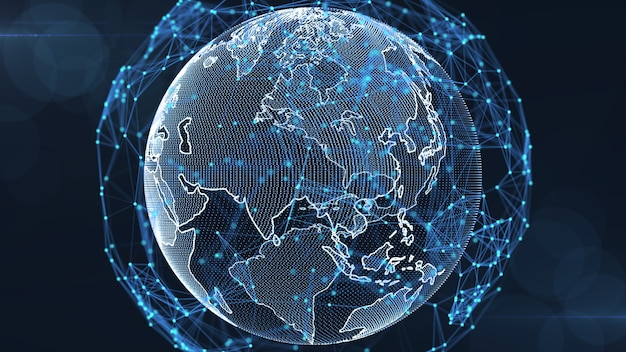 Growing global network and data connections concept.