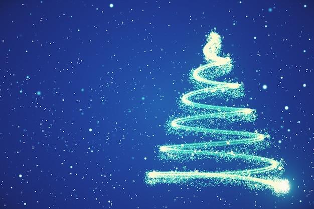 떨어지는 눈송이와 별 3d 일러스트와 함께 성장하는 새해 나무