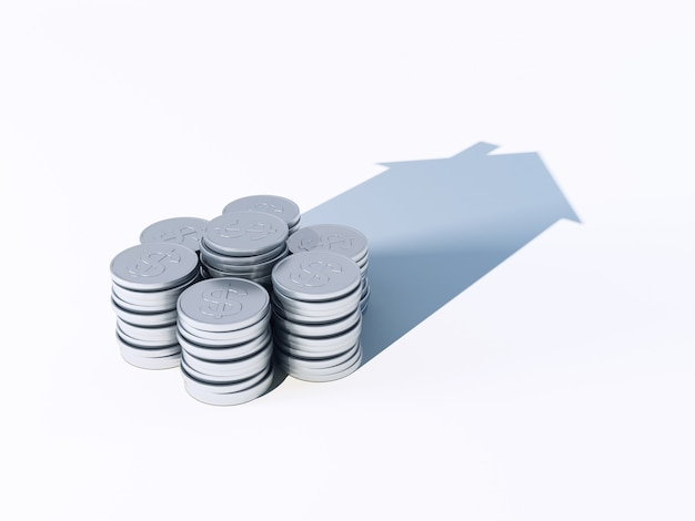 Growing stack of coins for finance and banking concept in 3d rendering