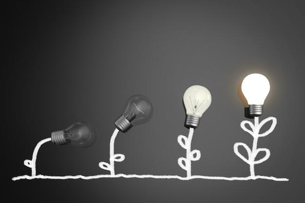 Концепция выращивания с сияющей лампочкой и растениями