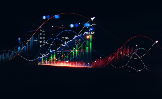 Растущая виртуальная голограмма статистического графика и диаграммы инвестиционная прибыль