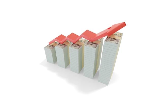 3次元のドル紙幣のスタックを含む成長棒グラフ