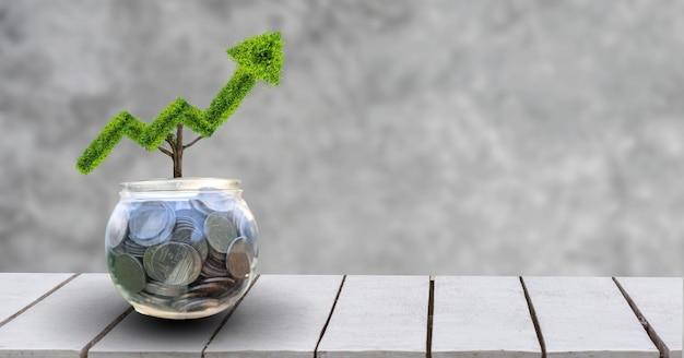 성장 사업. 나무는 금융 비즈니스 성장의 개념을 가리키는 모양으로 자랍니다.