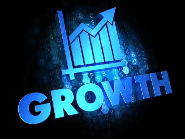 成長の概念-暗いデジタル背景の青い色のテキスト。