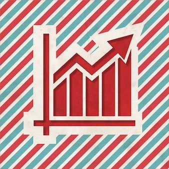 Концепция роста на красный и синий полосатый. винтажная концепция в плоском дизайне.