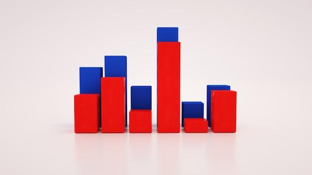 성장 그래프, 재무 지표, 통계. 3d 그림 흰색 배경, 그래픽 디자인 요소에 고립.