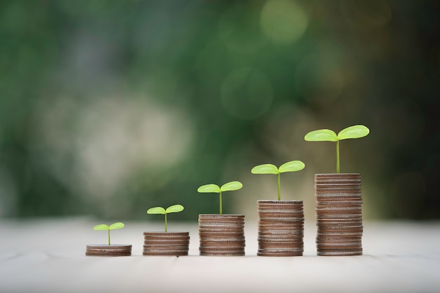 緑の背景、お金の節約と投資利益の成長の概念に植物と積み重ねられたコインの成長。