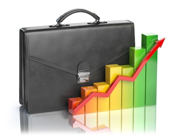 株式市場のポートフォリオの成長ブリーフケースとグラフ